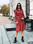 Женское красное платье в клетку с поясом, фото 6