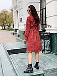 Женское красное платье в клетку с поясом, фото 7