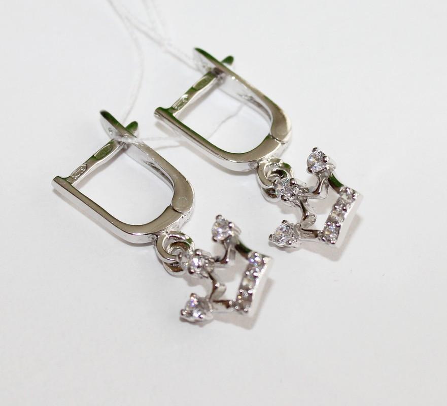 Сережки с подвесками Корона серебро