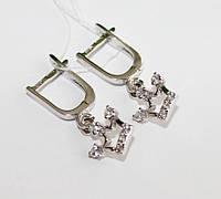 Серебряные серьги с цирконом Корона , фото 1