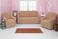 Набор чехлов на диван и кресла без оборки Venera 07-203 натяжные Медовый