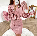 Женское вельветовое платье с поясом (в расцветках), фото 5