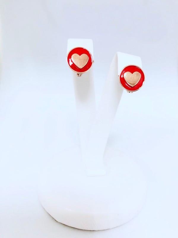 Детские сережки с цветной эмалью Heart