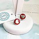 Детские сережки с цветной эмалью Heart, фото 2