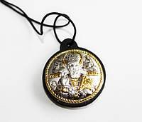 Серебряная иконка с золотом на шнурке Николай , фото 1