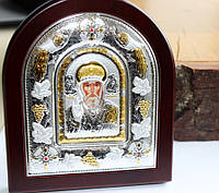 Серебряная икона с золотом Николай Чудотворец, фото 1