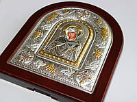 Деревяная икона в серебре с золотом Божья Матерь, фото 1