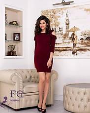 Вечернее красное короткое платье с открытыми плечами и воланами, фото 2