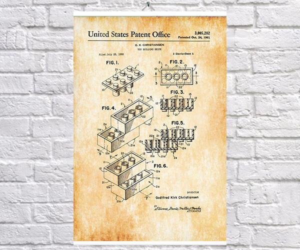 Постер BEGEMOT Патент-чертеж Конструктор Lego 40x61 см Желтый (1120420)