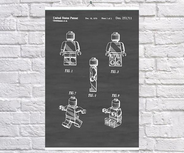 Постер BEGEMOT Патент-чертеж Фигурка Lego 40x61 см Черный (1120423)