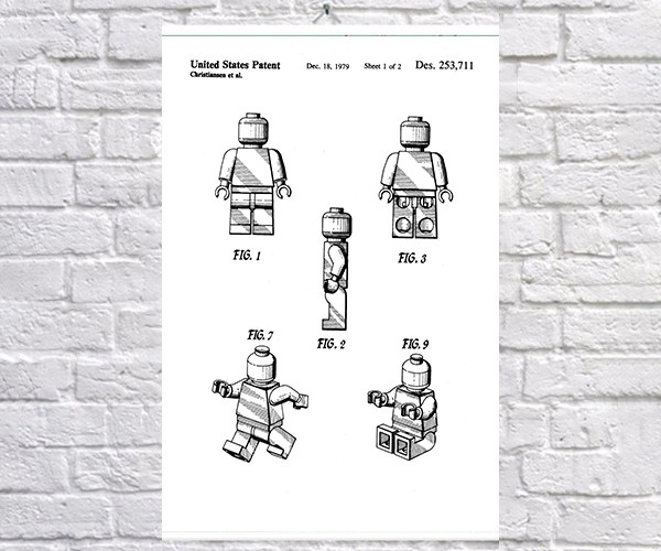 Постер BEGEMOT Патент-чертеж Фигурка Lego 40x61 см Белый (1120425)