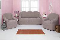 Чехол на диван и 2 кресла без оборки Venera 07-205 Какао