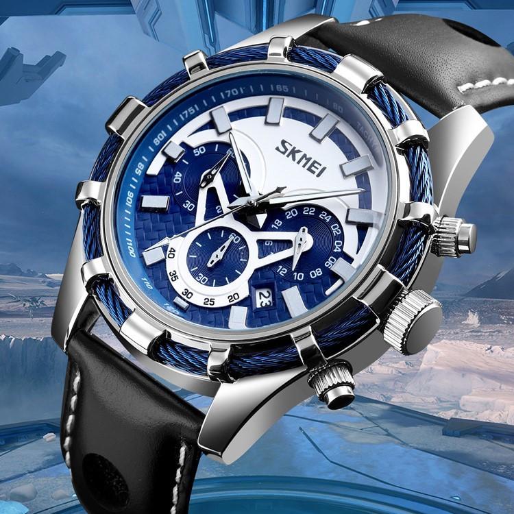 Мужские Часы Наручные Кварцевые Классические SKMEI (9189) 3 АТМ Серебряные с Синим Циферблатом