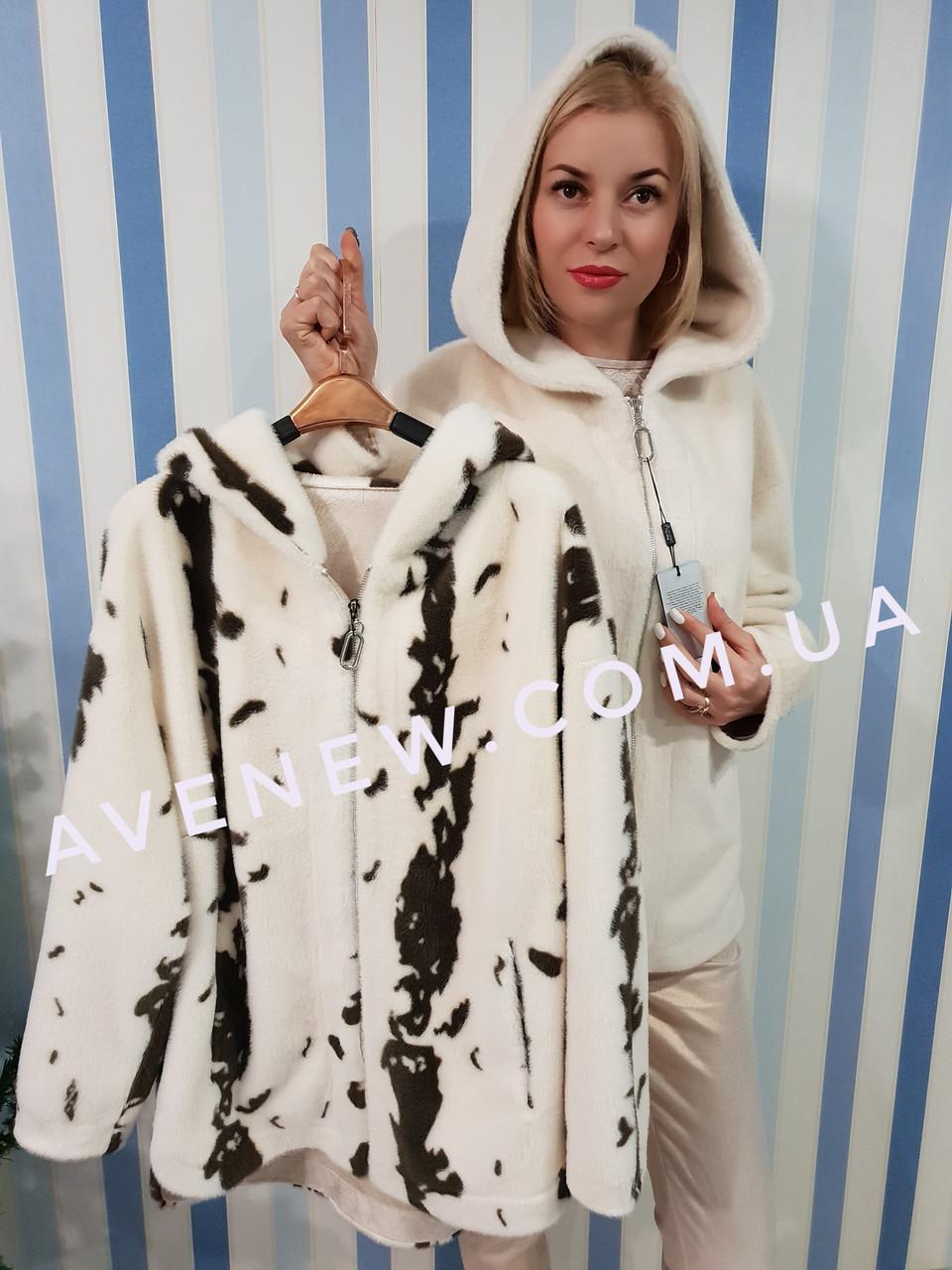 Пальто с капюшоном  имитация меха норки (эко-норка)