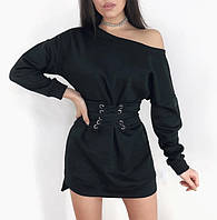 Теплое платье на флисе с корсетом, фото 1