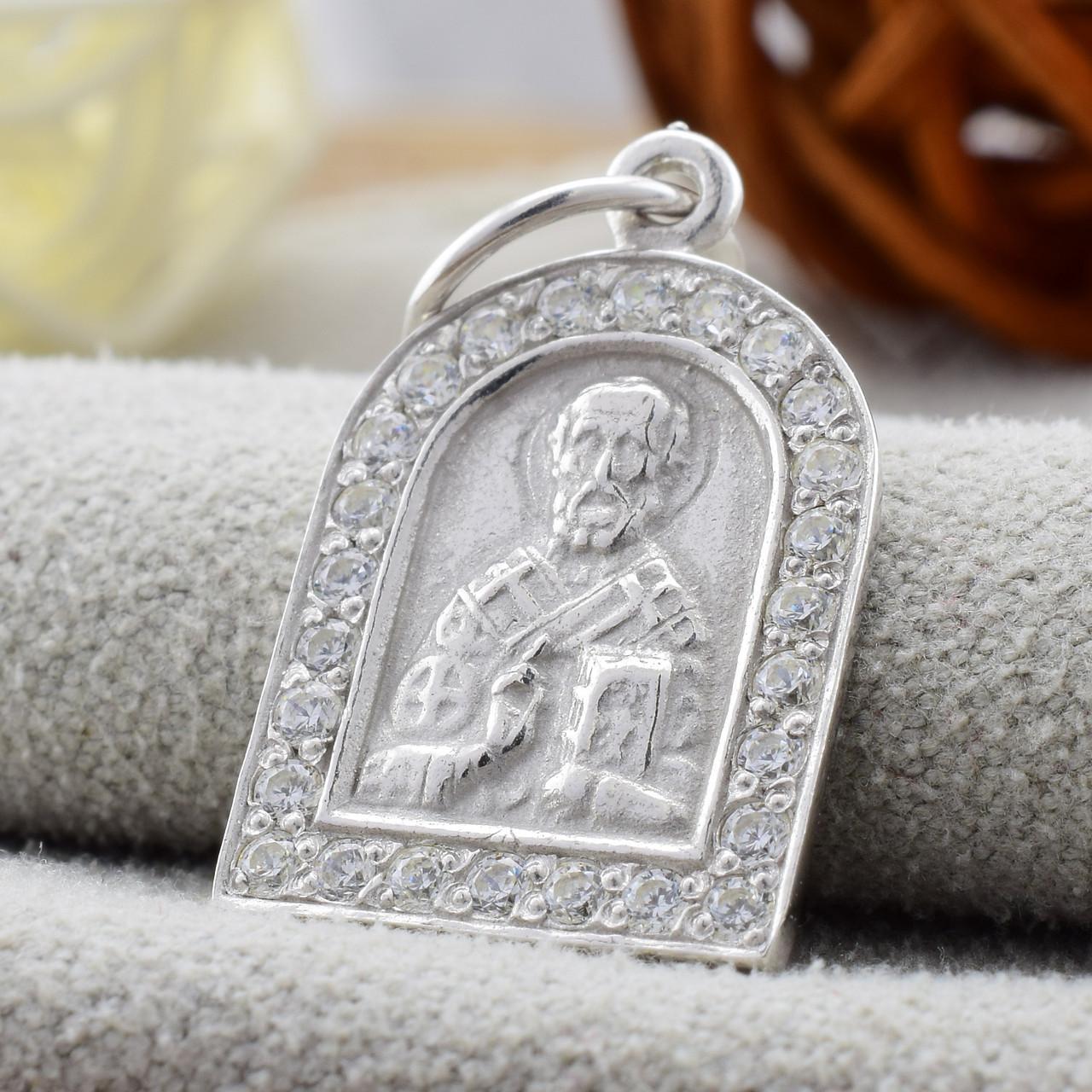 Серебряная иконка Св. Миколай размер 24х13 мм вес 1.55 г вставка белые фианиты