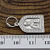 Серебряная иконка Св. Миколай размер 24х13 мм вес 1.55 г вставка белые фианиты, фото 2