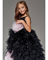 """Черное пышное платье детское, """"Роза"""" с отстегивающимся шлейфом."""