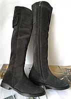 Fabiani style! Женские замшевые ботфорты зимние высокие сапоги на с маленьким каблуком, фото 1