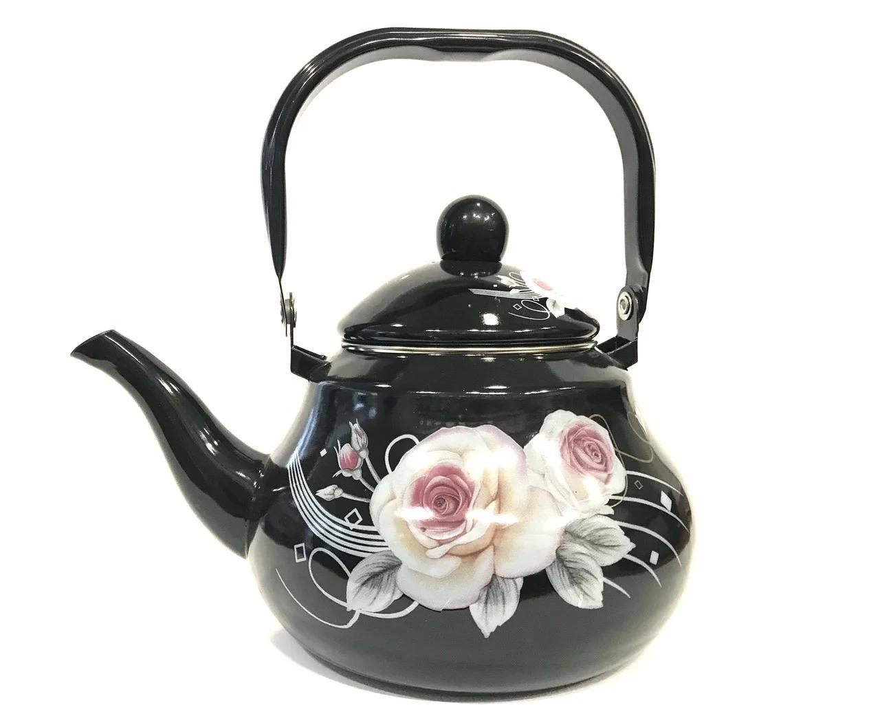 Кухонный чайник черный с рисунком 2 л Benson BN-102
