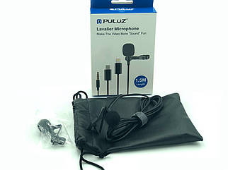 Петличный микрофон для смартфона на 1.5 метра (3.5mm 4 pin) Puluz