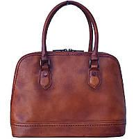 Женская кожаная сумка Итальянская под винтаж коричневая с длинным ремнем