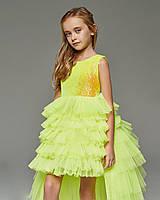 Детское платье со шлейфом, отстегивающимся, салатовое