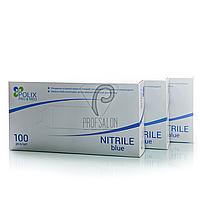 Перчатки нитриловые голубые Polix, с текстурой на пальцах, неопудренные, 100шт/50пар в упаковке