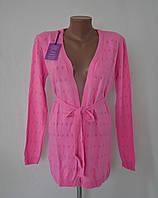 Кардиган ажурная вязка № 7190 - розовый, фото 1