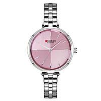 Женские Часы Наручные Стильные Curren (9043) Кварцевые Серебряные с Розовым Циферблатом