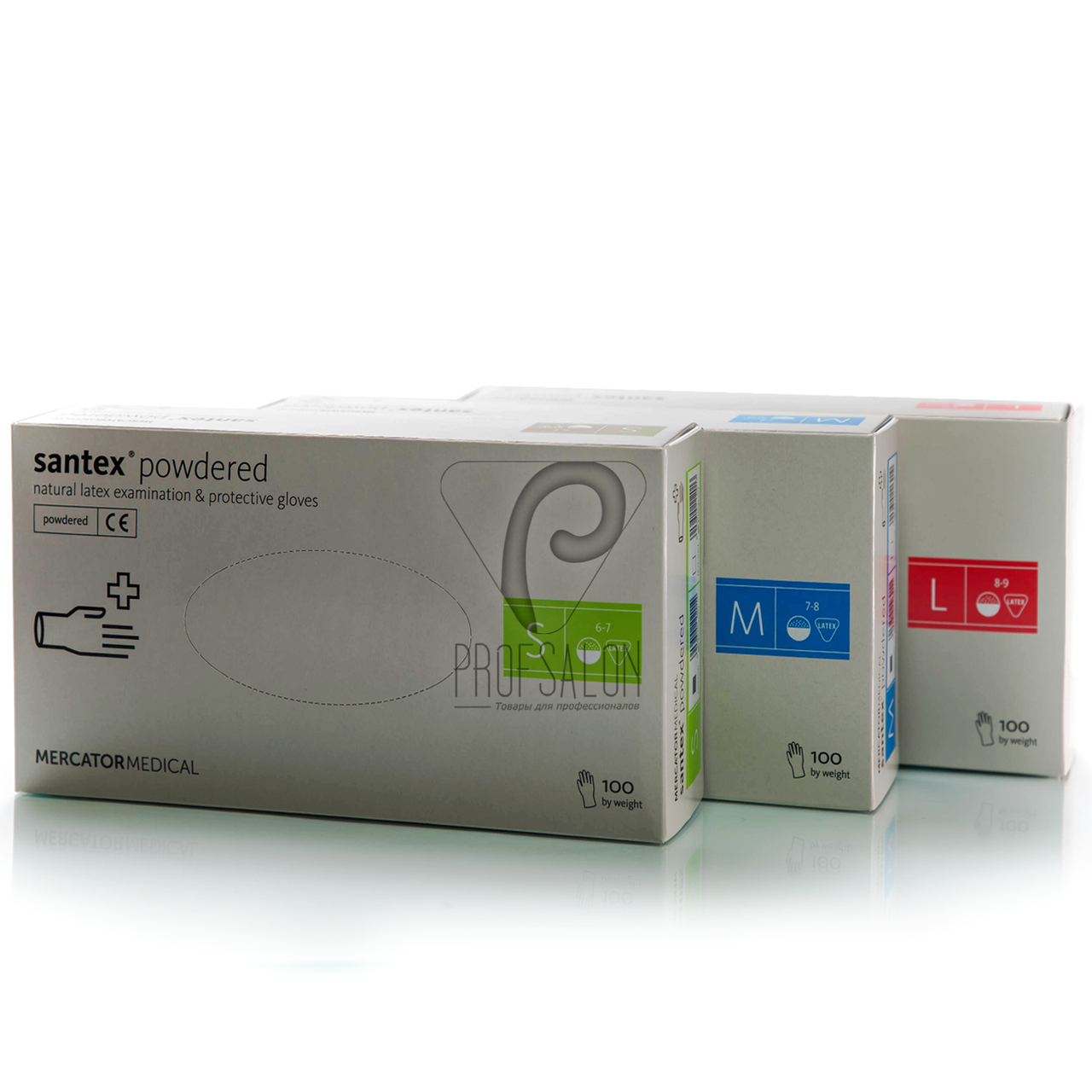 Перчатки латексные белые Nitrylex PF Santex текстурированные на пальцах, опудренные, 50пар в упаковке