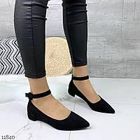 Женские замшевые туфли чёрные  =LEMON=