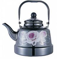 Кухонный чайник Benson BN-106 эмаль черный с рисунком 2.5 л