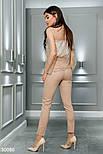 Деловые брюки высокой посадки бежевые, фото 3
