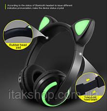 Бездротові Bluetooth-навушники Cat Ear ZW-19 котячі вушка LED підсвічування Зелені, фото 3