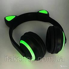 Беспроводные Bluetooth наушники Cat Ear ZW-19 кошачьи ушки LED подсветка Зеленые, фото 2
