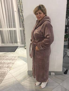 Махровий жіночий халат довгий, фото 2