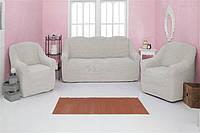 Чехол на диван и 2 кресла без оборки Venera 07-214 Кремовый