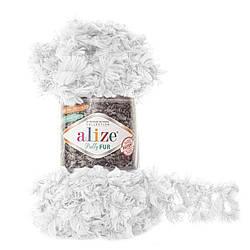 Пряжа Puffy fur Alize, №6100, белый