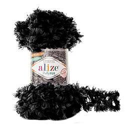 Пряжа Puffy fur Alize, №6101, черный