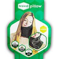 🔝 Дорожная ортопедическая подушка для путешествий Travel Pillow - Чёрная, подушка-воротник | 🎁%🚚