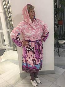 Махровый женский халат длиный