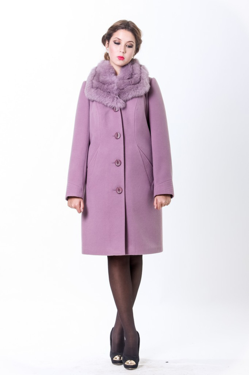 Пальто 1-035 Темно-сиреневый