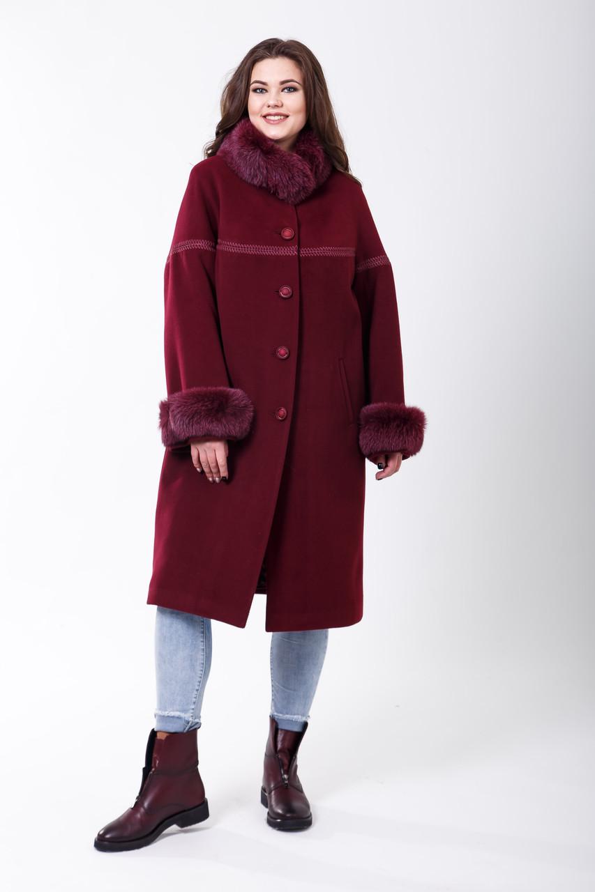 Пальто 1-071 Бордо