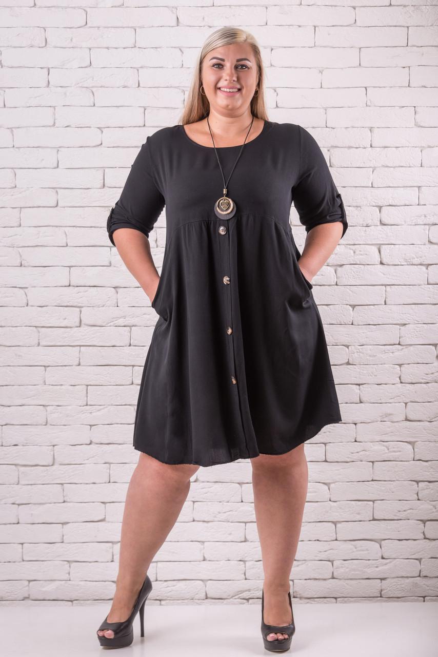 Черное платье большого размера   52-58 оверсайз черный