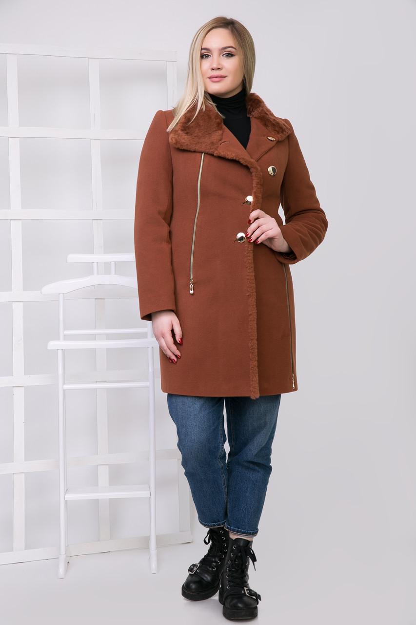 Пальто 1-072 Золотисто-теракотовый