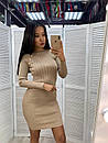 Платье трикотажное по фигуре с золотыми пуговицами, фото 2