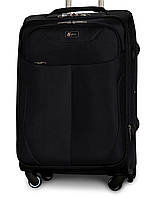 Большой тканевый чемодан Fly 1807-4 на 4 колесах черный