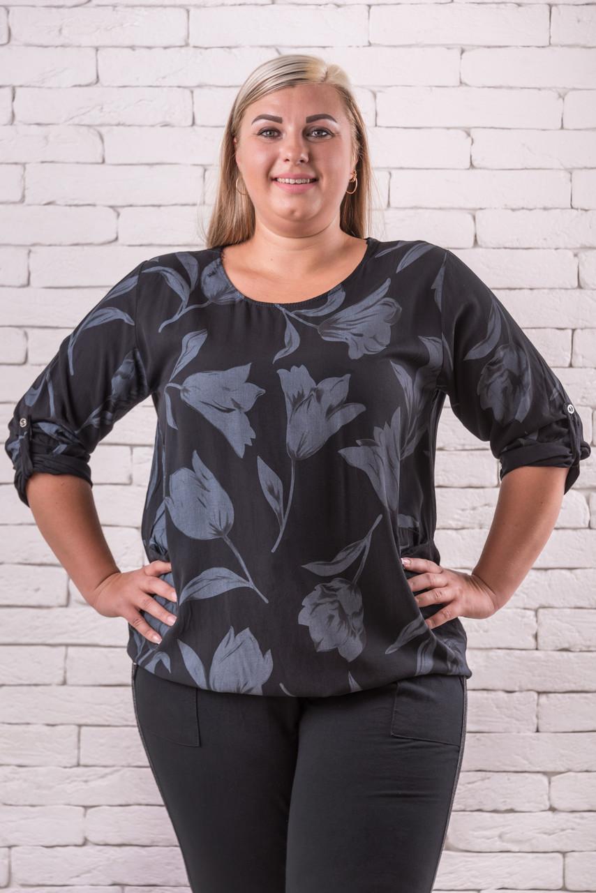 Блузки женские больших размеров  52-58 оверсайз черный