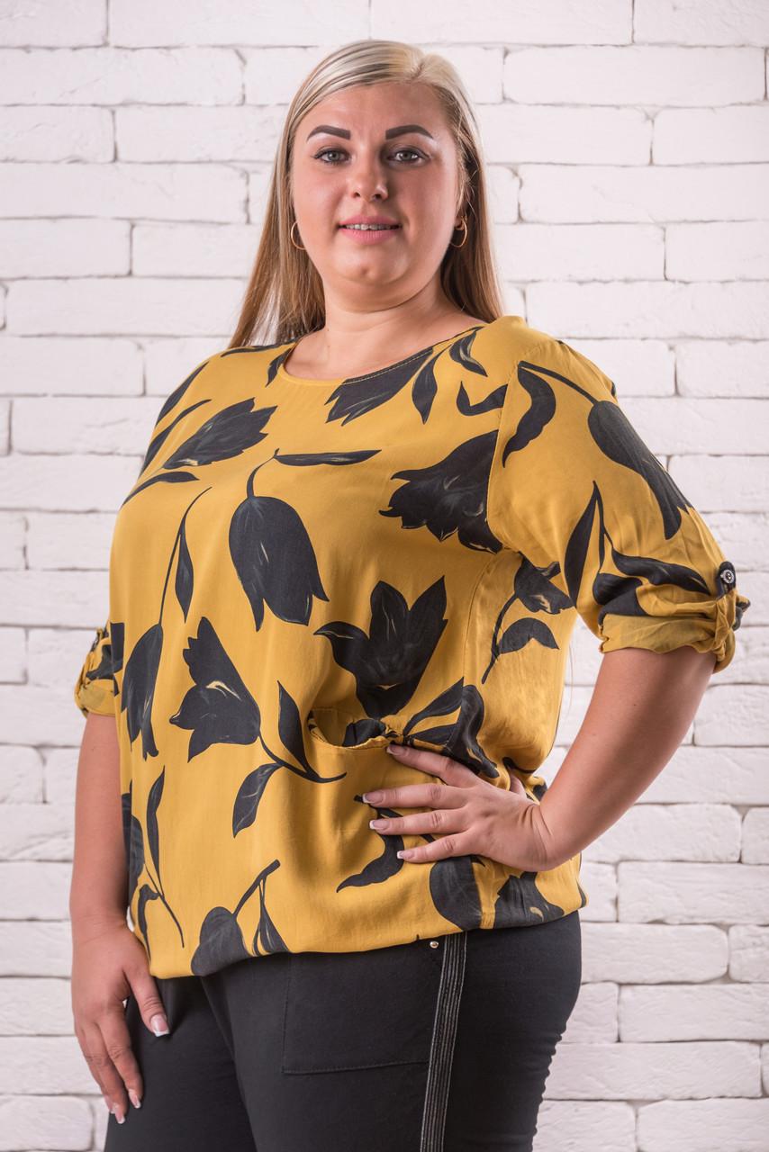Модные блузки женские большого размера   52-58 оверсайз желтый